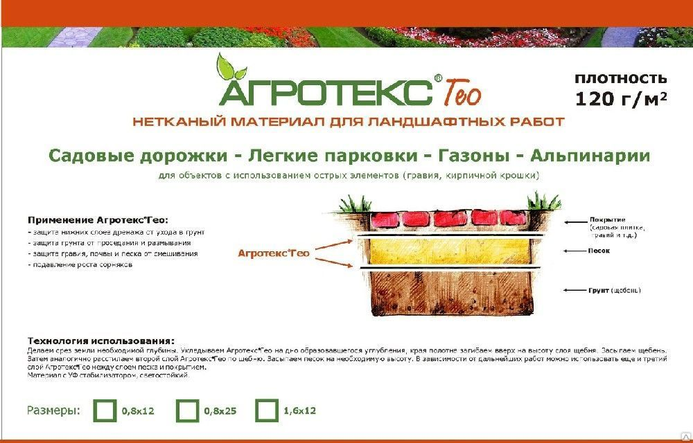 Геотекстиль Агротекс Гео 120 УФ — 0,8*25м